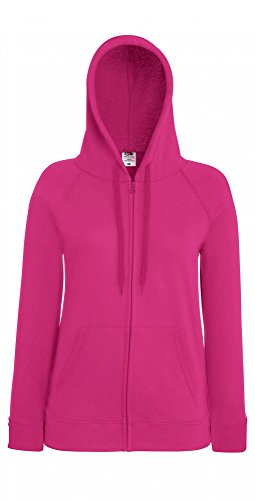 Fruit of the Loom Damen Kapuzenpullover Lightweight Hooded Sweat Jacket Lady-Fit Fuchsia