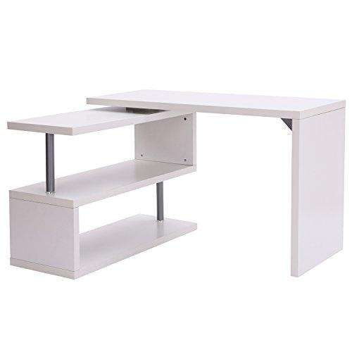 Homcom Bureau Informatique Table Informatique modulable avec bibliothèque adjacente Design Contemporain mélaminé métal chromé Blanc