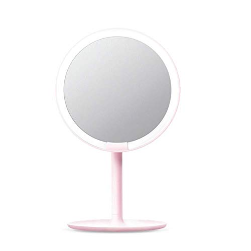 FJIE Tragbarer Schminkspiegel, Wiederaufladbarer Schminkspiegel, LED-Schminkspiegel for Schönheit, Reisen, Hautpflege (Color : Pink)