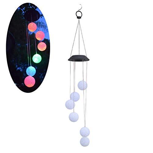 RTYUIIO Solar Gartenleuchten Solarleuchten LED Solar Wind Glocken Licht Hausgarten Hängelampe Außendekoration Ball Solar Windspiel Lichter -