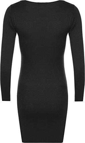 WearAll - Mini-robe serrée à manches longues - Robes - Femmes - Tailles 36 à 42 Noir