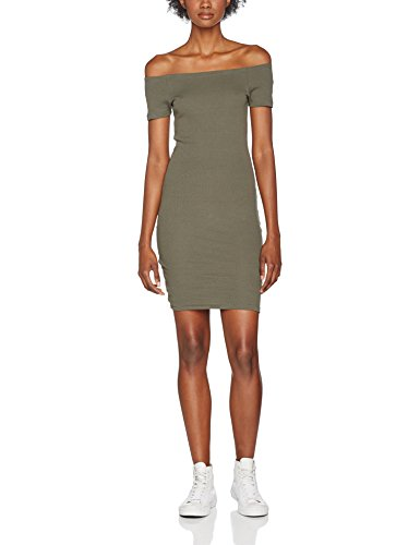 Urban Classics Damen Ladies Off Shoulder Rib Dress Kleid, Grün (Olive 176), X-Large - Olive Grünes Kleid