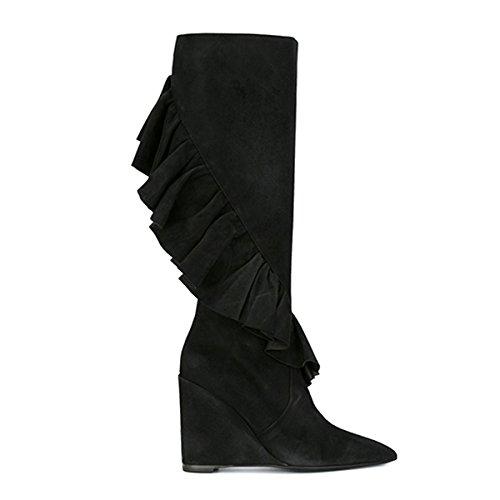 Damen Spitze Zehen High-Heels Keilabsatz Samt Langschaft Stiefeletten Reißverschluss Schwarz