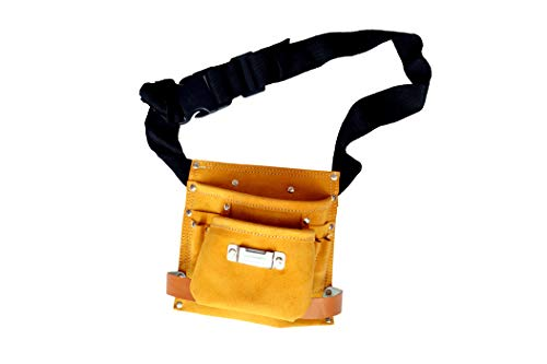 REAL stf Leather Tool Bag 8 Pockets with 2 Leather Hammer and 1 Tape Holder (Brown, 8.5 x 9 inches)