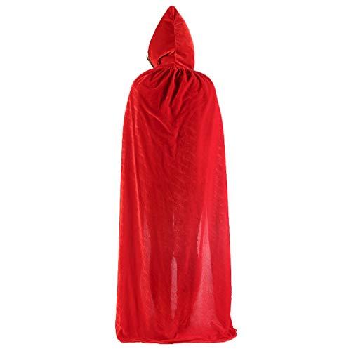(Cuigu Unisex Unisex Velours-Farbe, einfarbig, lang, Umhang für Halloween Party (Rot))
