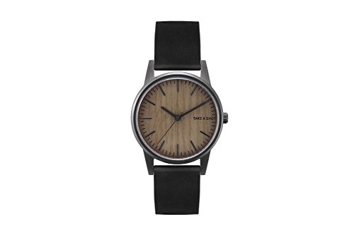 TAKE A SHOT | Armbanduhr | Joe | Zifferblatt aus Holz | Walnussholz | Holzuhr | Schwarz | 36mm