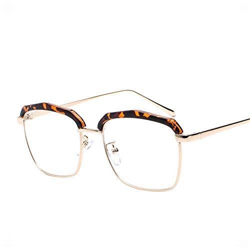 WULE-RYP Polarisierte Sonnenbrille mit UV-Schutz Half Frame Thin Legs Flat Lens Glasses, unabhängige Nasenpads, einstellbar Superleichtes Rahmen-Fischen, das Golf fährt (Farbe : Leopard)