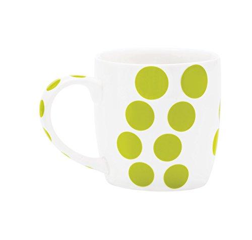 Zak Designs 1283-1591 Mug en Porcelaine 35cl-Blanc/Dot Vert Kiwi, Châtaigne