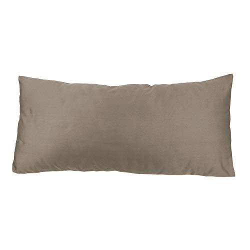 SHC Textilien Satin Kissenbezüge |Kissenbezug | Kissenhülle | Zierkissenbezüge als Doppelpack mit Reißverschluss aus 100% Baumwolle 40x80 cm Taupe -