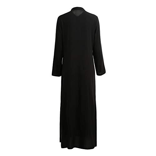 MENSDXA Kleiden 5XL Fashion Autumn Casual Long Maxi Dress Women V Neck Long Sleeve Beach Dress Plus Size Split Boho Dresses Vestidos XXL Black (Black Size Plus Long Dress Womens)