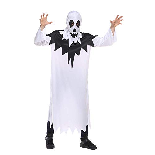NCTM Costume White Ghost Cosplay Stage Show Robe with Hood per Uomo, Donna, Unisex, Tessuto a Maglia