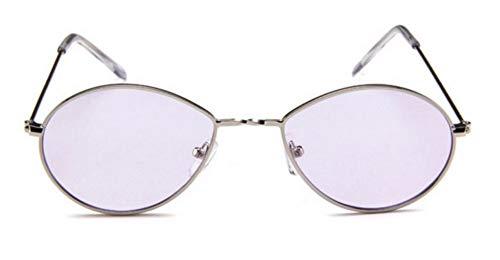 WSKPE Sonnenbrille Brillen Designer Damen Herren Sonnenbrille Brille Gelb Damen Tear Drop Runden Silbernen Rahmen Lila Objektiv