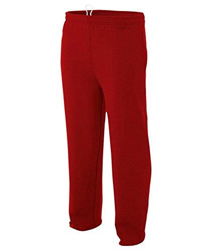 A4 N6189 Erwachsene Combed Ring-Spun Blended CVC Fleece Open Bottom Pant Gr. XXX-Large, Scarlet Red - Fleece Open Bottom Pant