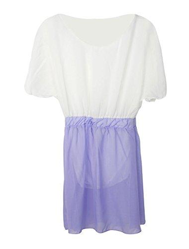 Fendu pour femme Col rond et manches Flouncing bicolore robe d'automne Violet - Violet