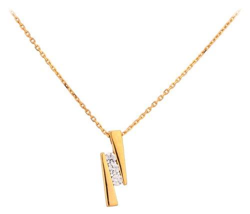 Orleo - REF5583BB : Collier Femme Or 18K jaune et Oxyde de zirconium - Trilogie