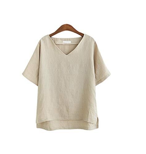 DFDONG Damen T-Shirt V-Ausschnitt T-Shirt Frauen Flachs Grundlegende Weibliche Sommer Weiß Sexy T-Shirt Frauen Baumwolle Vintage Lose Dünne T-Shirts XXXL @ L