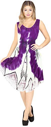 LA LEELA Bikini lässig Mini Umstandsmode Ärmel Partei Palme Sundress Plus Größe große hawaiische gestickten tie dye kurzes Strandkleid für Frauen der Frauen Violett_Y855 DE Größe: 42-50 -