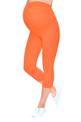 Mija - Leggings longueur 3/4 de maternité Haute qualité 1041 (EU 38/40, Orange)