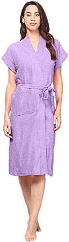BATHROBE GOWN IN 100% COTTON SOFT TERRY TOWEL UNISEX BY FILMAX® ORIGINALS (FREE SIZE - PURPLE)