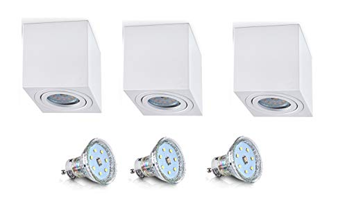 Weiß Aufbaustrahler Aufbaleuchte Aufbaulampe Deckenleuchte Deckenspots LED 4W 230V GU10 TÜV SÜD (3er OH.37W 4W)