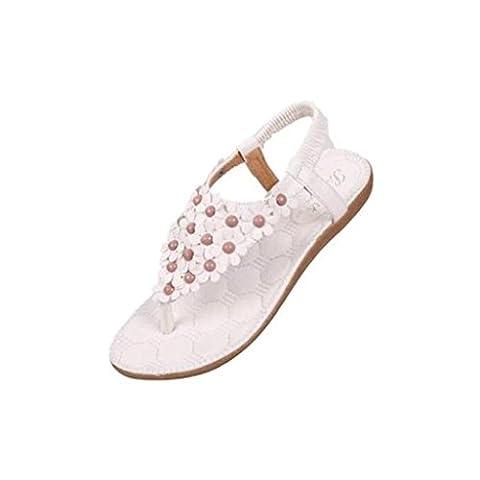 JACKY Bohemia Sweet Beaded Sandals Clip Toe Sandals Beach Shoes (EU 37, White)