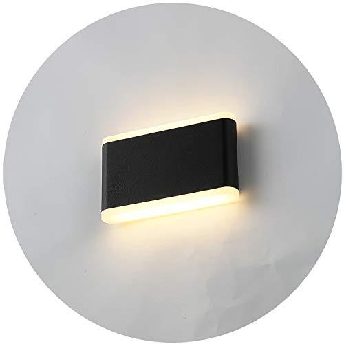 Topmo-plus 12W Lámpara de pared LED Diseño de apliques de pared OSRAM SMD para interior/exterior Impermeable IP65 aluminio/acrílico Destacamos un pasillo/jardín 3000K blanco cálido 17,5CM negro