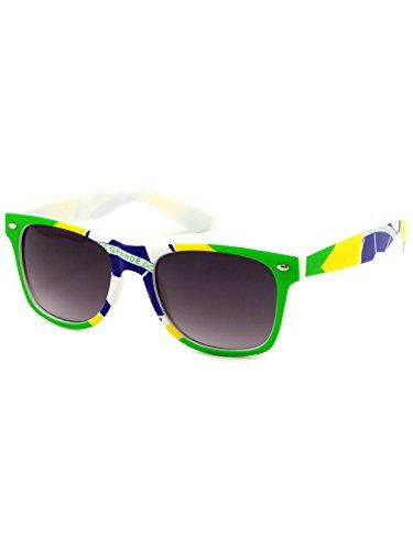 BEZLIT Damen Herren Kinder WM Russland Fanbrille 2018 WM Fanartikel Sonnenbrille 22712 Brasilien Schwarz