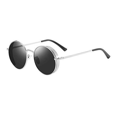 YHgiway Retro Vintage kleine Runde polarisierte Sonnenbrille Lennon inspiriert Steampunk Metallrahmen Gläser für Männer Frauen, YH7560,BrightSilverFrame,55mm