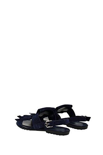 XXW0OV0Q200RE0U824 Tod's Sandale Femme Chamois Bleu Bleu