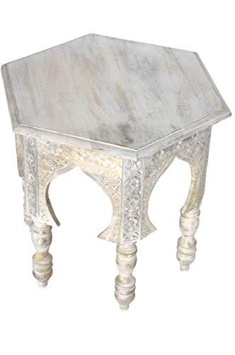 Marokkanischer Vintage Beistelltisch Hocker aus Holz Jannat ø 45cm Eckig   Orientalischer runder...