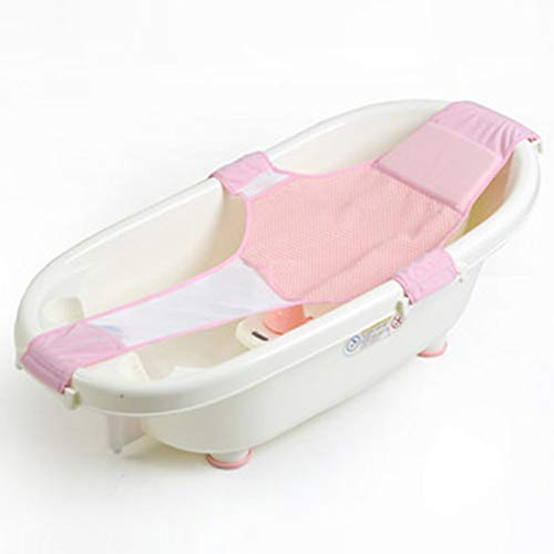 Hanzhang Attraktive Neugeborene Baby -Bath -Sitzmöbel Einstellbare Anti -Skin -Net -Badewanne Sliding Duschwanne Mesh Badewannen Ringe für Tub (BL)(None A)