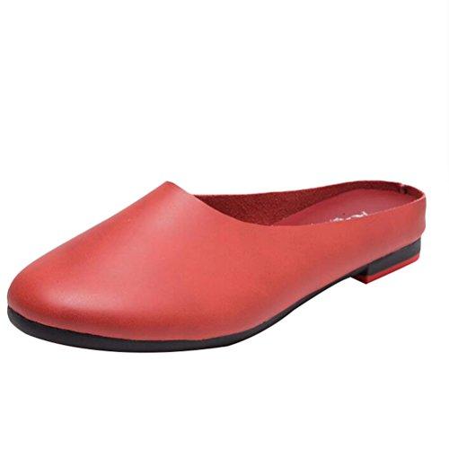 MatchLife Femmes EU 34-42 Babouche Sandales Style ZARA chaussures En Cuir  Chaussons Pantoufles Bordeaux