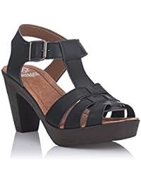 GIOSEPPO zapatos de tacón alto sandalias de madera Spor 39067-02 talla 40 NEGRO D4ijFEJan