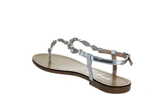 Sinly - Sandale Plate, Ornée De Strass - Femme Vert