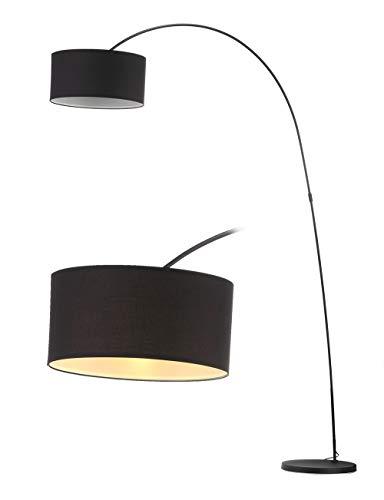 Modernluci arc Stehlampe Schwarz, Modern Bogenlampe für das Wohnzimmer, Schlafzimmer lampe, zeitnah arc Stehleuchte Skandinavischer Stil mit Textilschirm,ø 40cm, Höhe: 228cm E27-Fassung MEHRWEG -