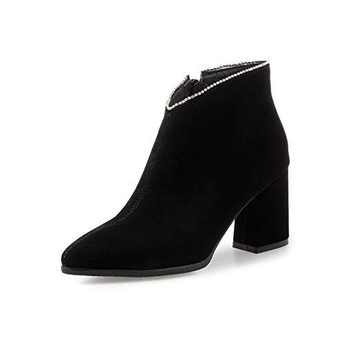 MENGLTX High Heels Sandalen Herbst Winter Womennkle Boots Big Größe 32-47 High Heels Mode Qualität Martin Boot Schuhe Frau Leder-6 4 Schwarz - Schwarze Leder-boot-frau