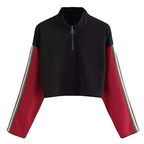 Xmiral Sweatshirt Hoodie Pullover Damen Langarm Spleißen O Hals Lässige Zipper Bluse (L,Rot) (Damen Sweatshirt Abercrombie)