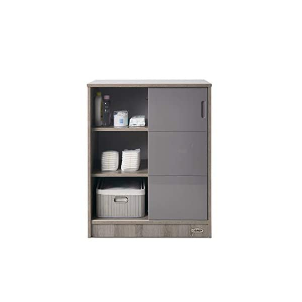 Obaby Madrid Storage Unit - Eclipse Obaby Left side offers the option of a hanging rail and shelf or three shelves Right side has 3 fixed shelves Option to add the removable changing top to turn into a changing unit 6