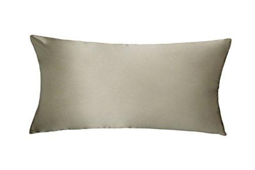 LULUSILK 16 Momme 100% Seide Kissenbezug Haar- und Hautpflege Kissenhülle knitterarm 1 Stück 40x80cm Taupe (Seide, Bett, Kissen)
