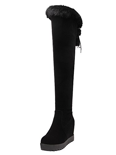 AIYOUMEI Damen Wildleder Keilabsatz Overknee Stiefel mit Schnürsenkel und Fell Bequem Winter Hohe Stiefel