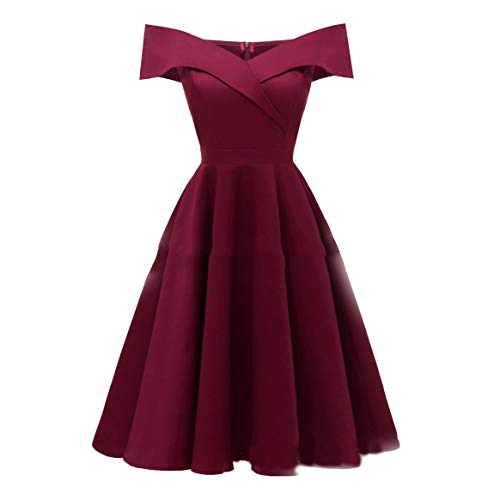 eb6736bf0328e Elegant Women Dress Sleeveless Boat Neck Off-shoulder Dress Solid Color Sexy  Dress Gown for