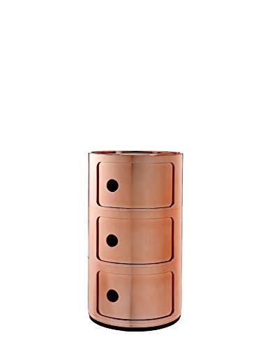 kartell componibili, contenitore, plastica, arancione, 32 x 32 x 58 cm