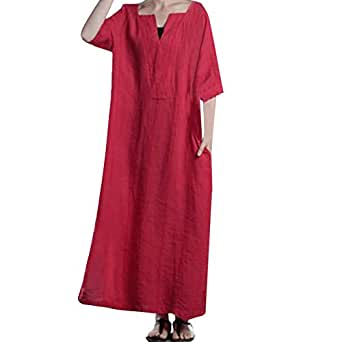 21181b309f ESAILQ Women s Casual Long Sleeve O-Neck Button Baggy Cotton Linen Splits Maxi  Dress Royal Blue Dress Petite Maxi Dresses midi Dress White lace Dress  Summer ...
