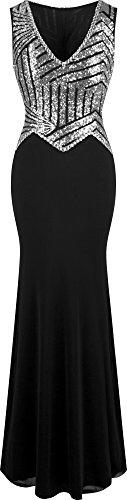 Angel fashions Damen V-Ausschnitt Paillette Perlstickerei Meerjungfrau Mantel lang Abendkleid- Gr. S, Silber