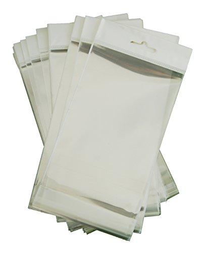Klarsichtbeutel 10x15 cm ungedruckt mit Klebefläche und Aufhängung zum einfachen Befüllen, Aufbewahren und Präsentieren (1Pack=100Stück)