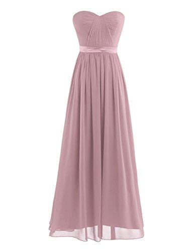 iEFiEL Elegant Damen Kleider festlich Cocktailkleid Chiffon Maxikleid Lang Brautjungfernkleid Abenkleider für Hochzeit Gr. 34-44 Altrosa 44 (Herstellergröße:16)