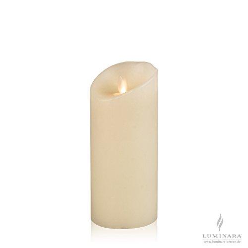 Luminara LED vela de cera de marfil lisa 8 x 18 cm