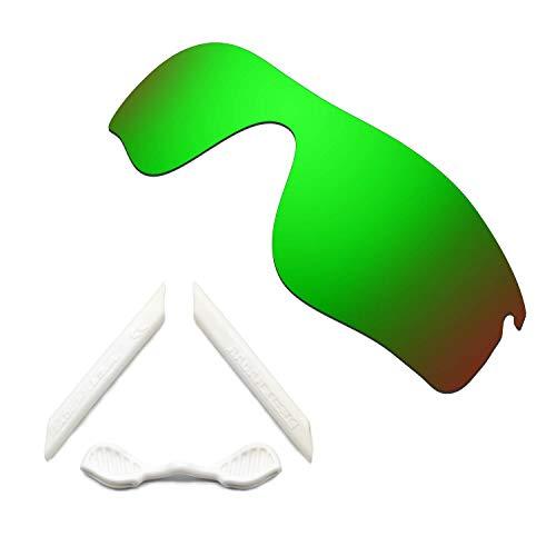 HKUCO Green Polarized Replacement Lenses and White Earsocks Rubber Kit For Oakley Radarlock Path Sunglasses