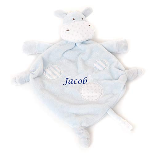 personalisierbar bestickt blau Giraffe Baby Tröster Decke Spielzeug