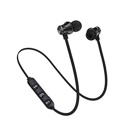 GTJXEY Laufen Bluetooth Kopfhörer, Sport-Laufende Bluetooth Kopfhörer Drahtloser Kopfhörer-Kopfhörer Mit Mic-Bass Stereo Magnetic Bluetooth-Kopfhörer,Schwarz